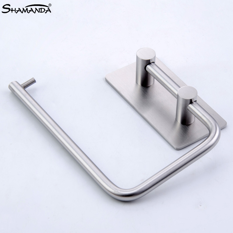 Cheap Price Shamanda Sus 304 Stainless Steel Kitchen Bathroom Towel Dispenser 3m Stick Suction Cup Toilet Paper Holder Polished Finished Bathroom Hardware