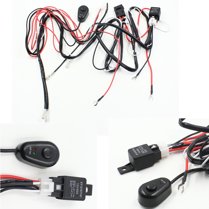1pc Universal Hareness Kit 1 to 2 Led Light Bar Cable 40A 12v 24v Switch Relay Auto Work Driving Fog light Wiring Loom Harness ...