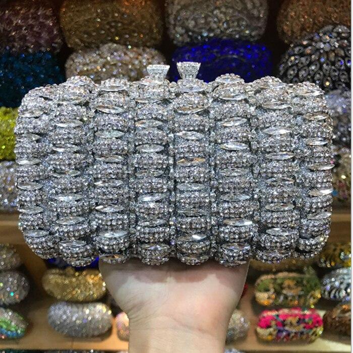 купить Women red Handbags Rhinestone Crystal Clutch Mini Metal Minaudiere Handbag Hardware Clutches Evening Bags Party Diamonds Purse по цене 11765.55 рублей