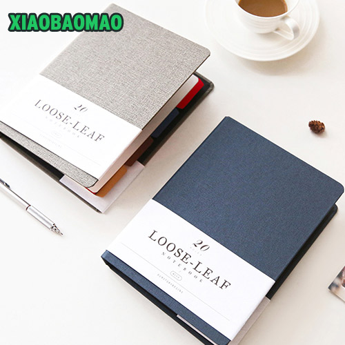 MUJI style solid color notebook Diary Schedule book planner diary 20 hole Loose-leaf binder cute school supplies ann notebook korea school supplies stationery cute happy graffiti leather surface solid color printing loose leaf diary notepad