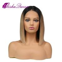 T1B/27 короткий Боб Ombre парик Синтетические волосы на кружеве человеческих волос Парики бразильского Волосы remy прямо на черный Для женщин отбе