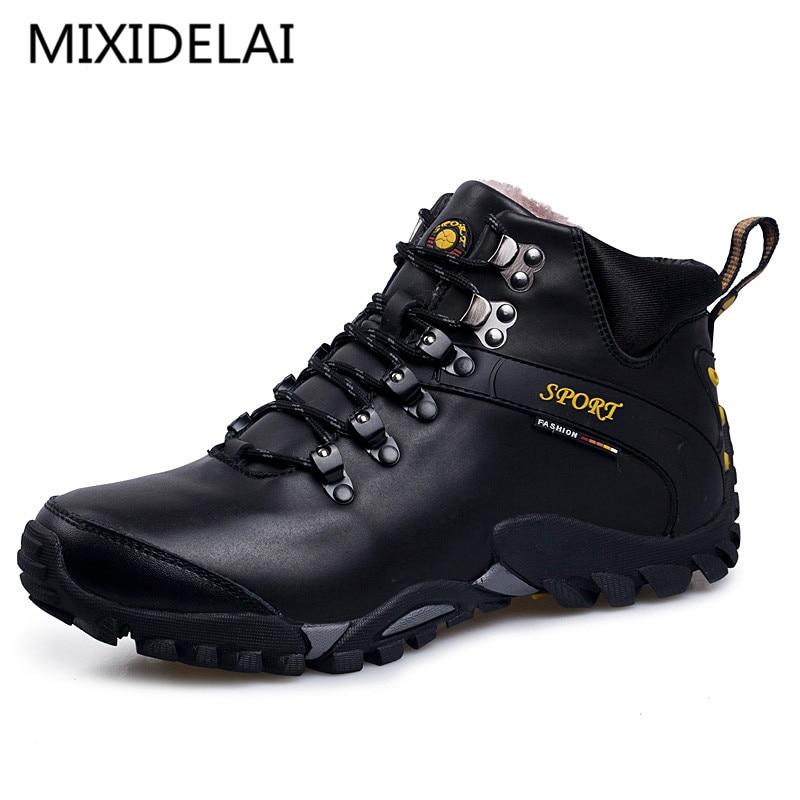 MIXIDELAI New Road Track 2018 Men Snow Boots Waterproof Men Footwear Winter Ankle Boots Fur Breathable Men Winter Shoes 3 Colors
