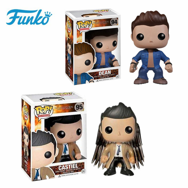 Funko POP TV:Supernatural Character # 94 Dean Action & Figure Toys # 95 Castiel Vinyl Doll Collectible Model For Birthday Gift