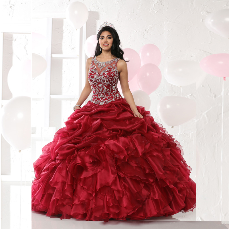 f3c1b0da88 Hot Selling Scoop Neck with Crystal Beading Gown Red Organza Lace up Ball  Gown Luxury Quinceanera Dresses 2016 Ruffles Sweet 15-in Quinceanera Dresses  from ...