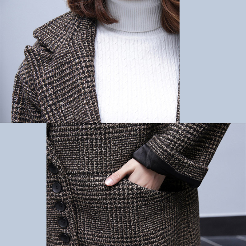 Laine Hiver Femme Plaid Oversize Poitrine Gray Wdie Angleterre Style Manteau Veste Mode Unique Long Dark De Femmes taille 2018 Nouvelle dwS5qwX