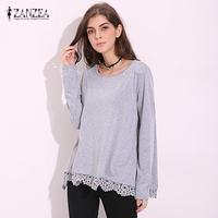 ZANZEA Blusas Femininas 2016 New Women Lace Patchwork Blouses Female Casual Long Sleeve O Neck Loose
