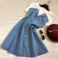 Summer False Two Pieces Denim Dress For Female New Collection High Waist Slim Casual Soft Dress Lady A Line Dress With T shirt
