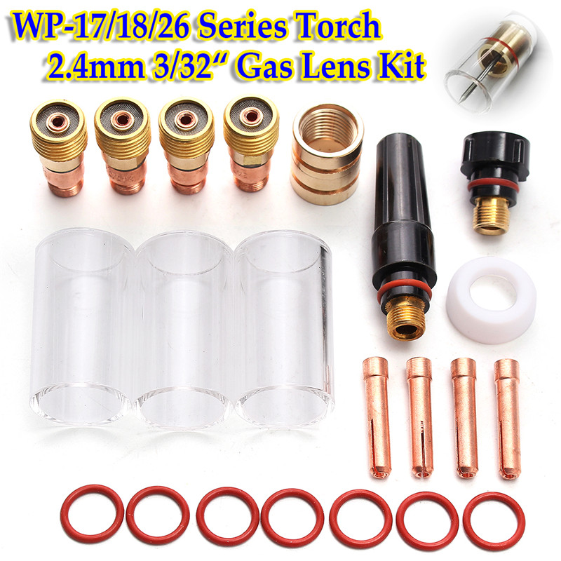 22pcs TIG Welding Torch Collet Consumables Tools Set Kit For WP 17 18 26 Series