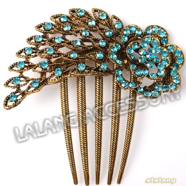 3pcs Lot Old Fashion Women S Elegant Hair Clip Pea Tail Pattern Blue Rhinestone Tuck Comb