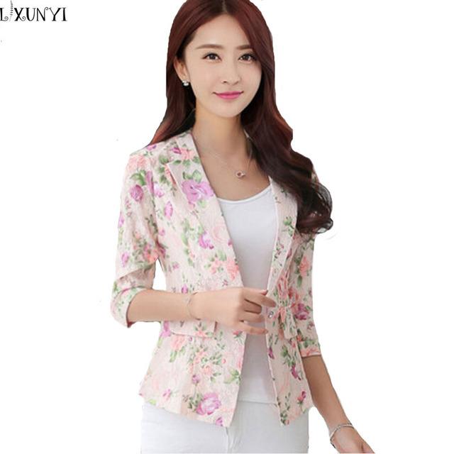 New Arrival 2017 Coreano Mulheres Blazers E casacos Três Quartos Moda Impresso Pequeno Naipe Elegância Magro Blazers Rendas Verão