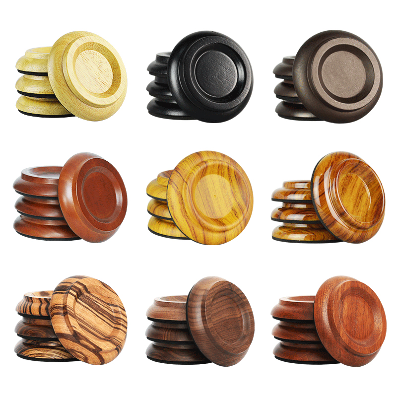 4pcs/lot Solid Wood / Wood Color Palstic Upright Piano Leg Cups Foot Pads Set Upright Piano Accessories Caster Cups