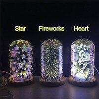 Romantic 3W Creative Led Night Light Multicolor Fireworks DC5V USB Recharge 3D Illusion Lamp Indoor Decoration