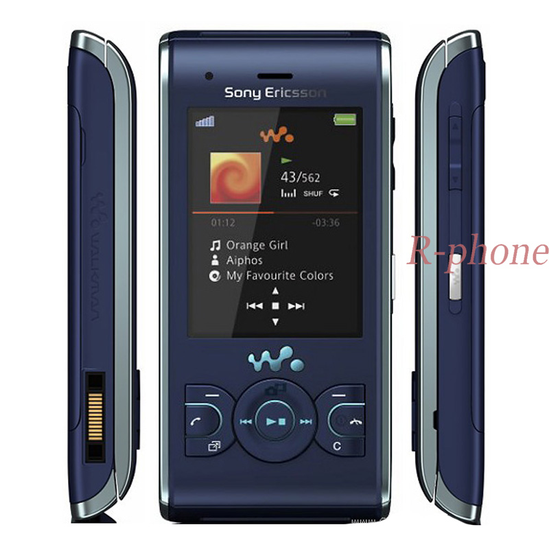 Original  W595 Mobile Phone Unlocked W595 Cell Phone 3.15MP Bluetooth MP3 MP4 Player Dark blue feature phone