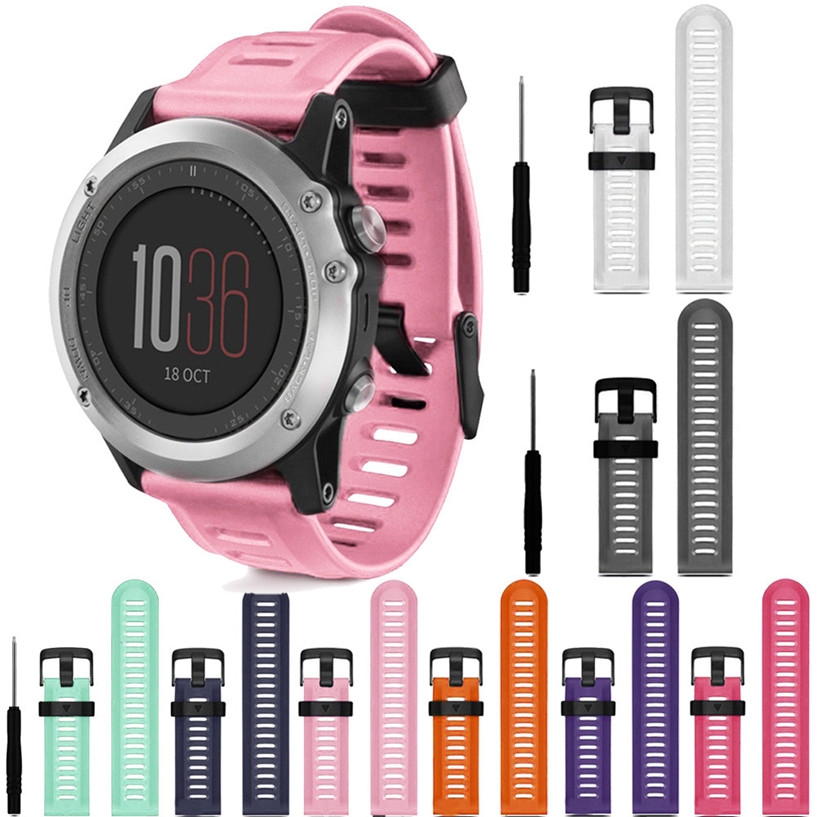 все цены на  2017 Fabulous hot Luxury Soft Silicone Strap Replacement Watch Band With Tools For Garmin Fenix 3 dropping AUG26  онлайн