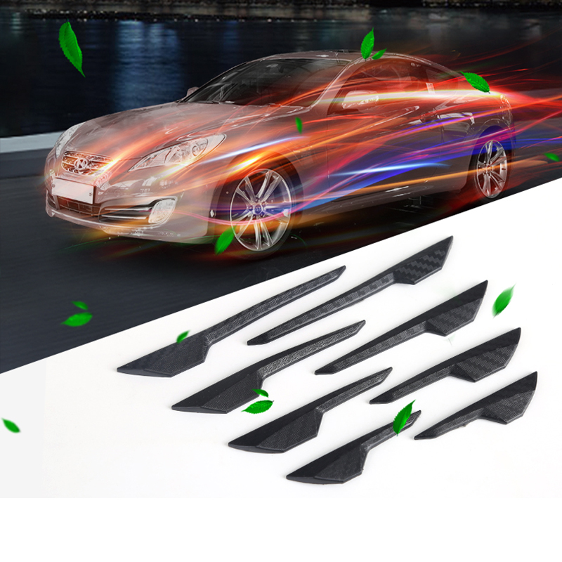 8PCS Car Lip Spoiler Universal Front Bumper Protector Auto Splitter Wing Protection Stickers Rear Diffuser Carbon Guard Skirt