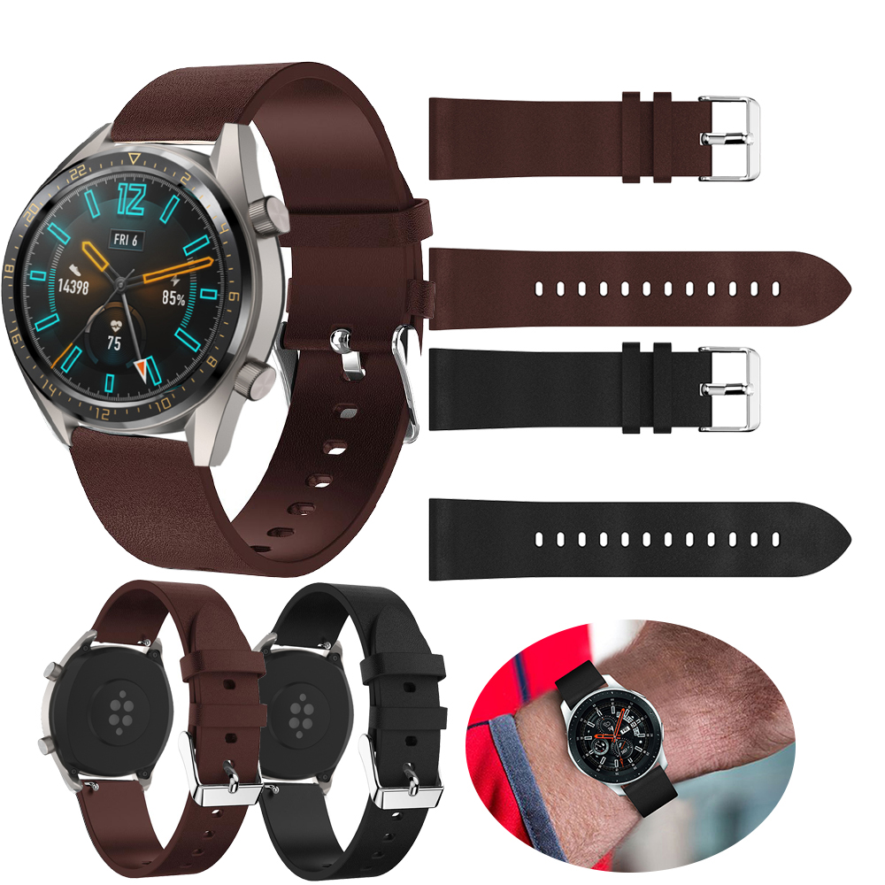 22mm Replacement luxury leather band Wrist for Samsung Galaxy Watch 46mm Gear S3 watch band for Huami 2S 2 watch for Huawei GT in Smart Accessories from Consumer Electronics