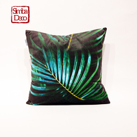 Modern Plant Pillowcase Beautiful Attractive Two Colors 45cmx45cm Abstract Velvet Plush Cushion Cover For Sofa Seat