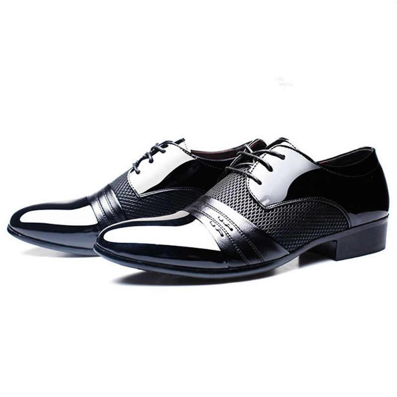 חדש עסקי שמלת גברים עור נעלי קלאסי גברים שמלת נעלי יוקרה מותג גברים חתונה רשמיות נעלי דרבי שטוח נעלי XL 38-48
