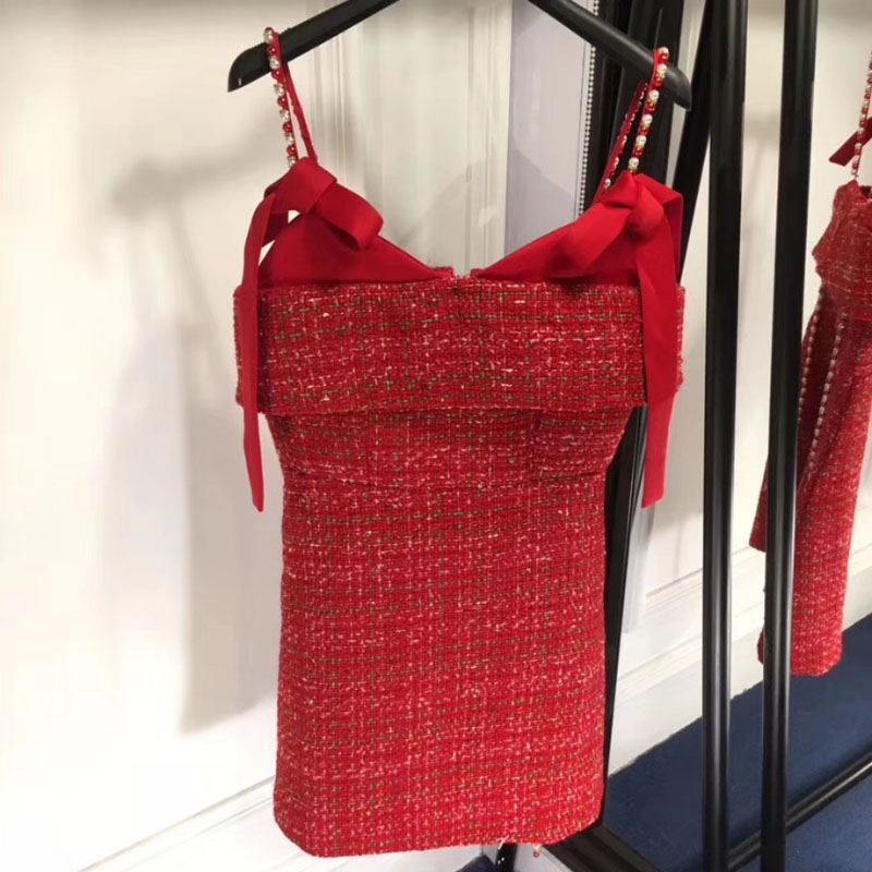red dresses for women 2018 short sexy spaghetti strap dress summer tweed dress women