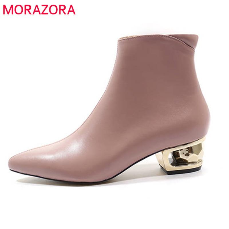 MORAZORA 2020 nouveauté en cuir véritable bottines pour femmes bout pointu automne hiver bottes couleur unie robe chaussures femme-in Bottines from Chaussures    1