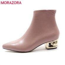 MORAZORA 2020 nouveauté en cuir véritable bottines pour femmes bout pointu automne hiver bottes couleur unie robe chaussures femme