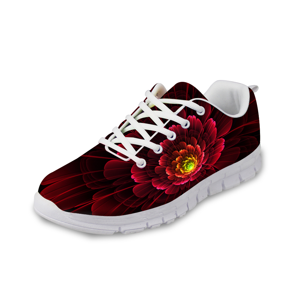 Customized Floral Style flat Shoes Woman 3D Unique Flower Printing Casual Breathable Shoes for Women Lace-up Flat Mesh Shoes