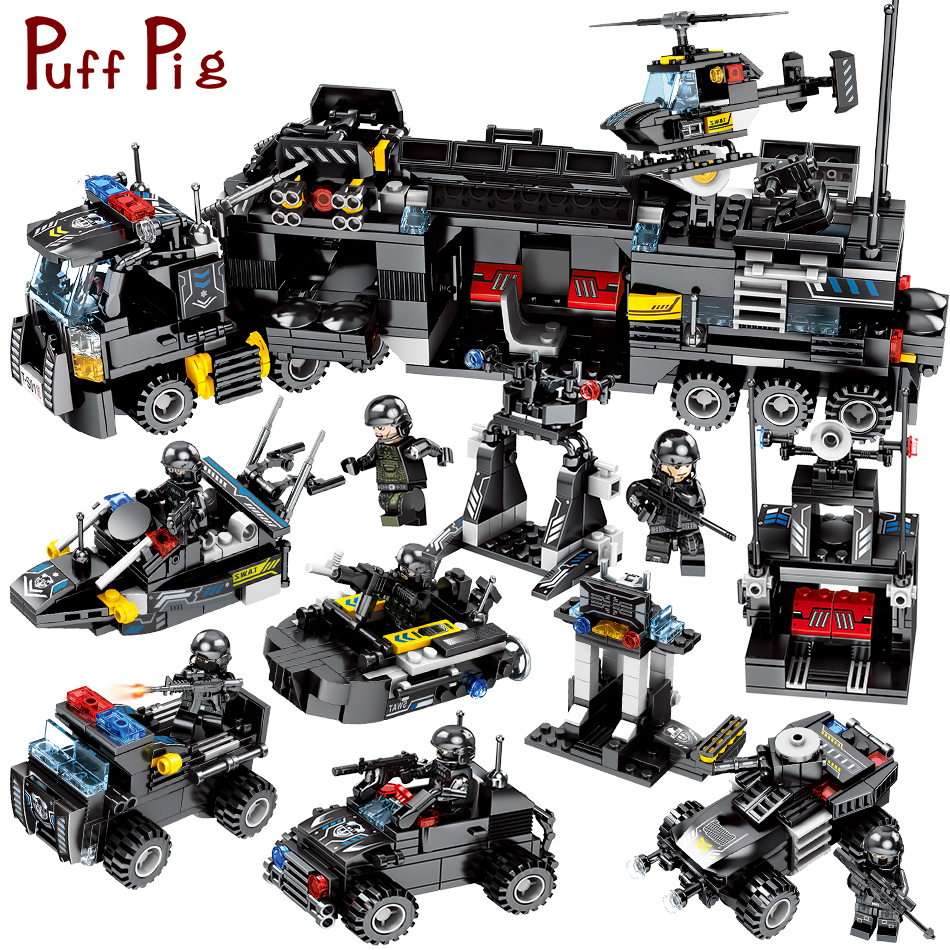 цена на 695pcs 8in1 Military Swat Team Police Mobile Command Center Trucks Building Blocks Compatible Legoed City Figures Toys For Kids