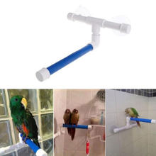 Pet Supplie 1pc Birds Shower Perches Toys Bird Bath Standing Platform Rack Wall Suction Cup Parrot Budge Paw Grinding Stand Toy(China)