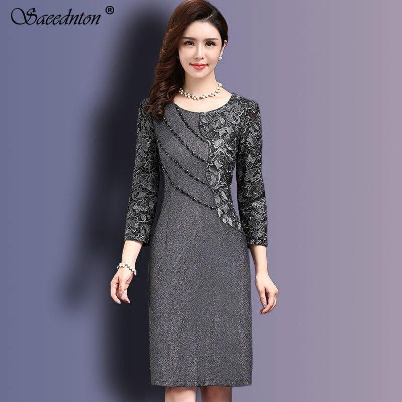 Women Sexy Dress 2019 Autumn Elegant Women Winter 3/4 Sleeve Knee Length Vintage OL Work Bodycon Lace Crochet Dresses Vestidos