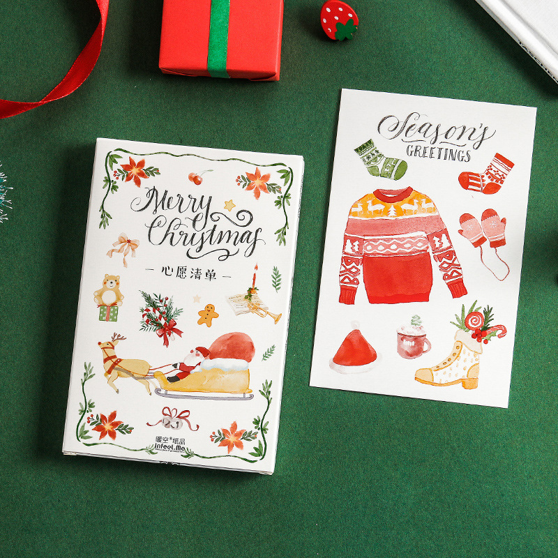 New 30 Sheets/Set Christmas Wish List Postcard /Greeting Card/Message Card/Birthday Letter Envelope Gift Card