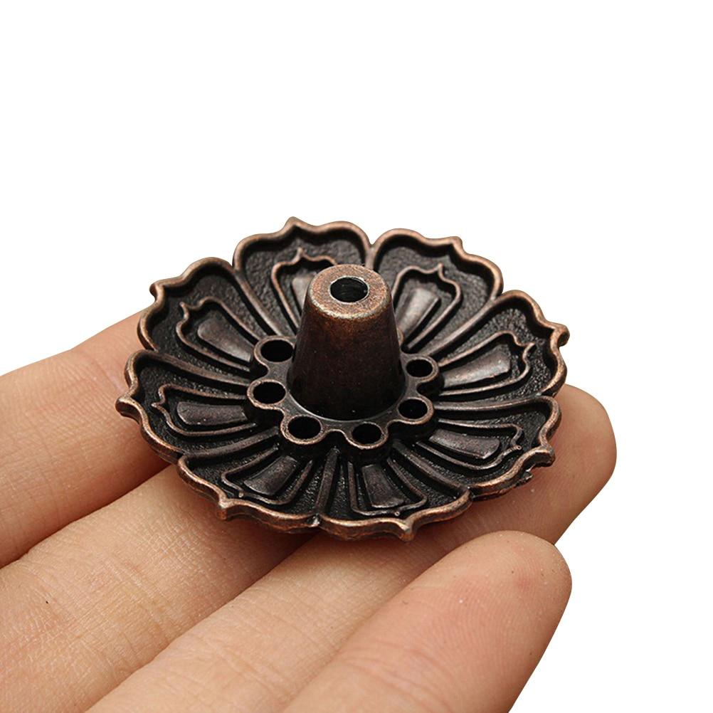 62996e42ca7 HENGHOME 1PCS Mini Lotus Flowers Incense Burner Stick Holder Alloy Bronze  Mini Incense Base Plug Metal Craft Home Decoration