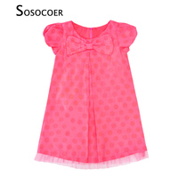 SOSOCOER Kids Girl Dress Polka Dots Short Sleeve Girls Dresses For Children Costume Summer Pink Bow