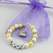 New name Personalised Girl baby Birthday Christmas Gift Charm name Bracelet with bag-yellow
