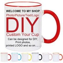 DIY Photo Ceramic Mug Color Handle and Rim Printing Custom Picture Travel Coffee Mugs Personalized Cup