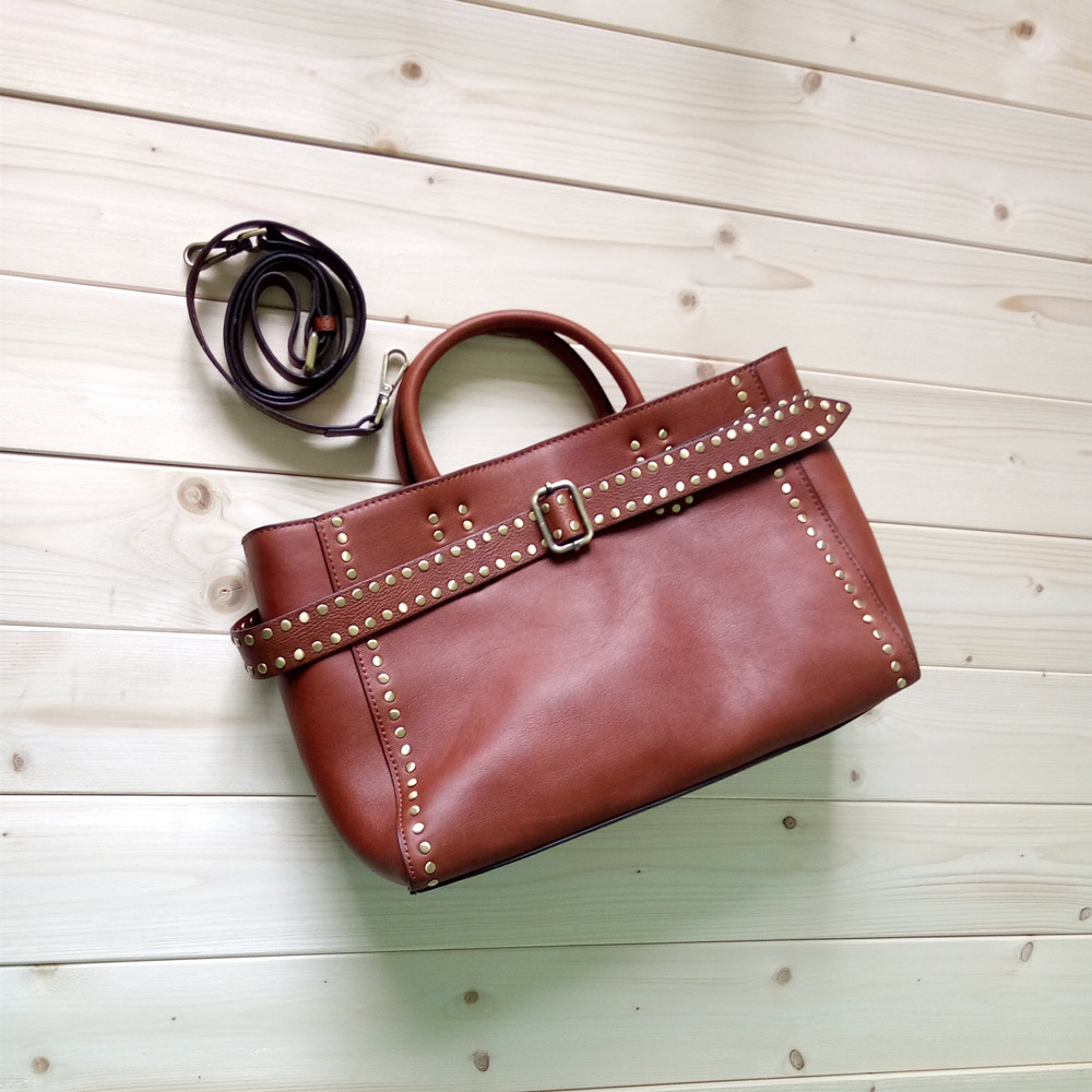 novelty genuine leather brown rivet tote handbag for women first layer of cowhide unique design one shoulder crossbody bagnovelty genuine leather brown rivet tote handbag for women first layer of cowhide unique design one shoulder crossbody bag