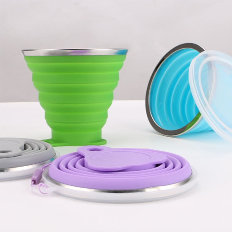 270ml Folding Camping Cup Stainless Steel Silicone Retractable Folding Cup Telescopic Collapsible Coffee Cups Outdoor Water Cup