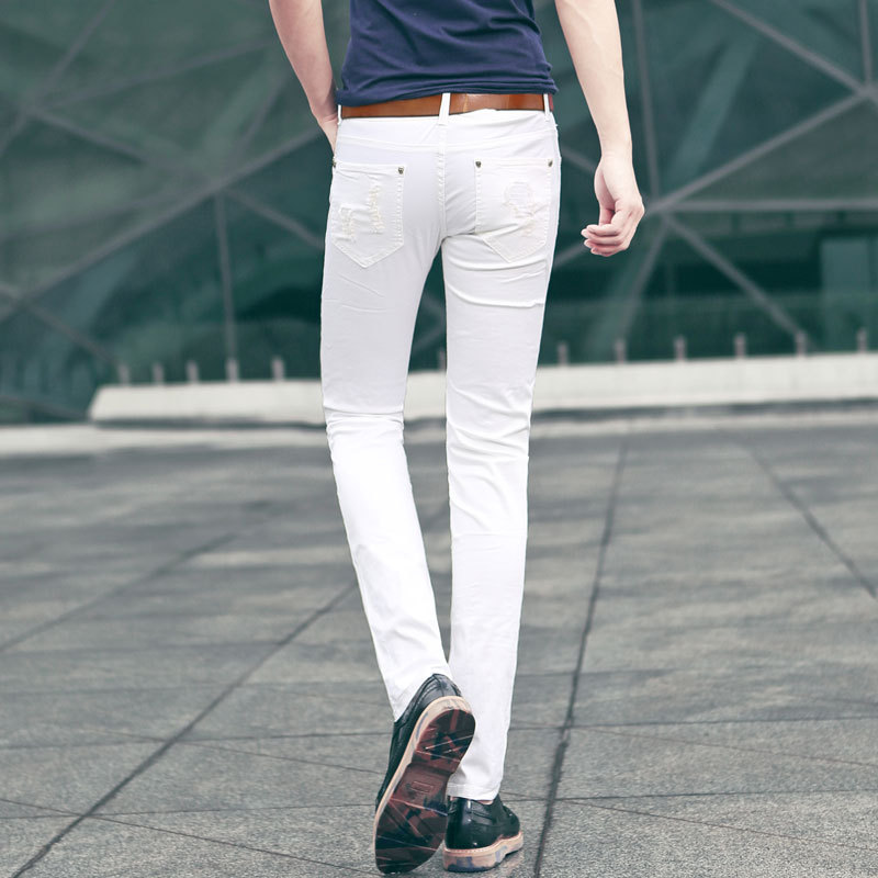 HOT 2015 summer style white ripped jeans men fashion slim famous brand hole skinny  jeans plus size denim casual pants A586-in Jeans from Men s Clothing on ... c82a7873148f