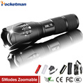 Ultra Bright 5 Modes led flashlight 2400 Lumen Zoomable +1 * 4200mah 18650 Rechargeable Battery + charger + holster