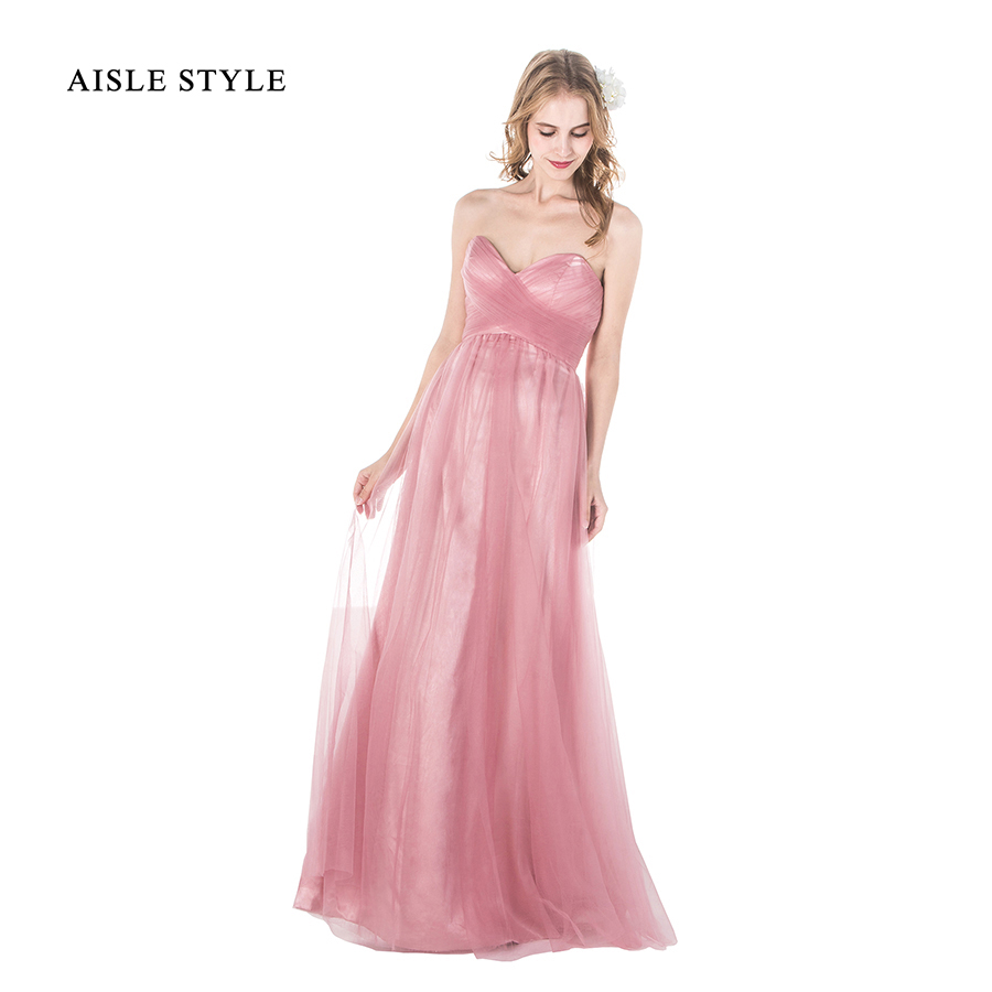 Online get cheap pink roses dresses for adult aliexpress aisle style womens long bridesmaid dresses pleated sweetheart dusty rose bridesmaid dress plus size for pink ombrellifo Gallery
