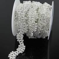 1 Yard Crystal Close Sew On Rhinestone Cup Chain Trim Metal Claw Sewing Rhinestone Trimming For