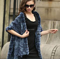 Elegance/100%  Mulberry silk 100% Real Rex Rabbit  Fur Plaid Shawl /cloak/ Poncho /Coat/ Cape/Wraps/Blue