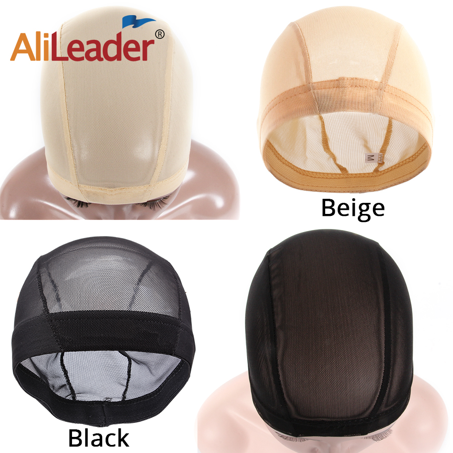 Alileader Breathable Small Large Spandex Mesh Dome Cap Wig Making Beige Black Invisible Hair Nets Nude Crochet Stocking Wig Cap