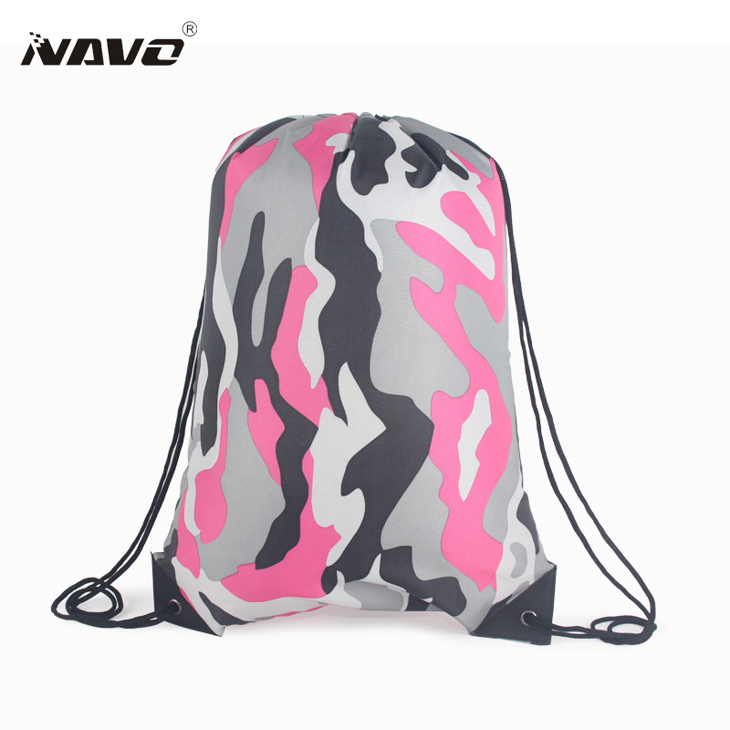 Portable sack cheap polyester nylon drawstring backpack fashion camouflage back bag for travel drawstring bag for books shoes