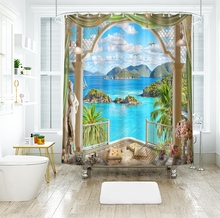 3d Sea View Pattern Shower Curtains Sunset Glow outside the Window Bathroom Curtain Thicken Waterproof Thickened Bath Curtain window sailboat sea waterproof bath curtain