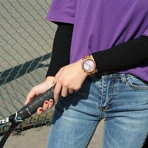 Image 5 - Bobo Vogel Relogio Feminino Dropshipping Dames Horloges Hout Metaal Chronograph Horloge Aanpassen Logo Christmas Gift Box