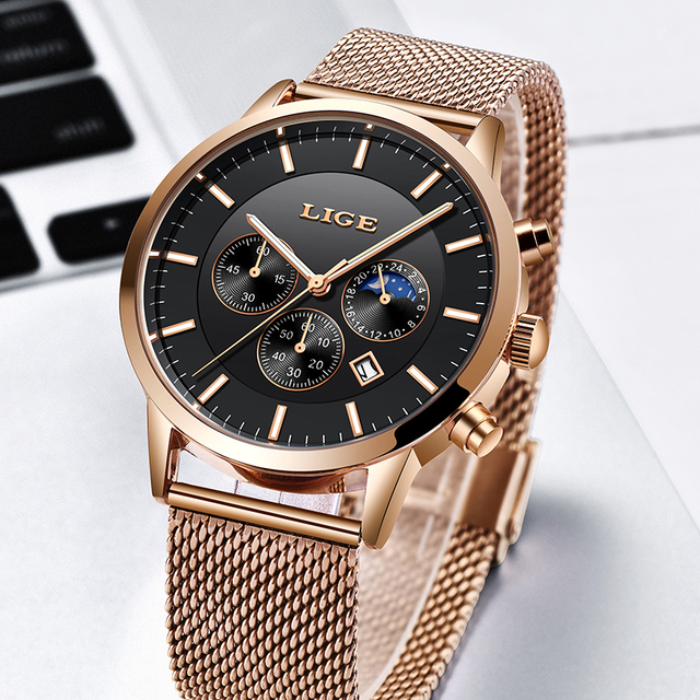 2019 New LIGE Mens Watches Top Brand Luxury Business Watch Sports Waterproof Quartz Clock Fashion Moon Phase Gold Watch For Men 3
