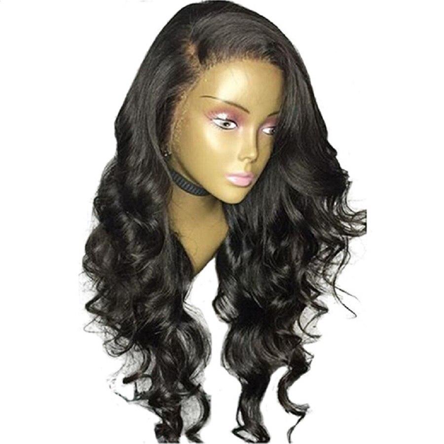 Глубокий прощание Синтетические волосы на кружеве человеческих волос парики с ребенком волосы распущены волны бразильский Волосы remy парик...