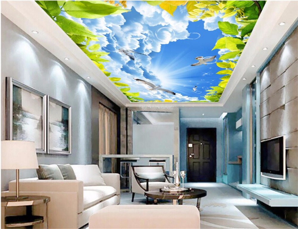 Custom 3d Ceiling Murals Wallpaper Home Decor Painting Sky Clouds Pigeons Green Leaves 3d Wall