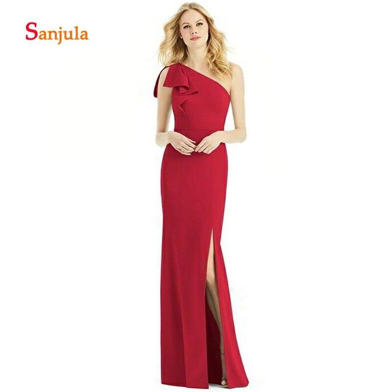 Red One Shoulder   Bridesmaid     Dresses   2019 Ruffles On Shoulder Leg Split Slit Wedding Party   Dresses   Sheath Prom Gowns D260
