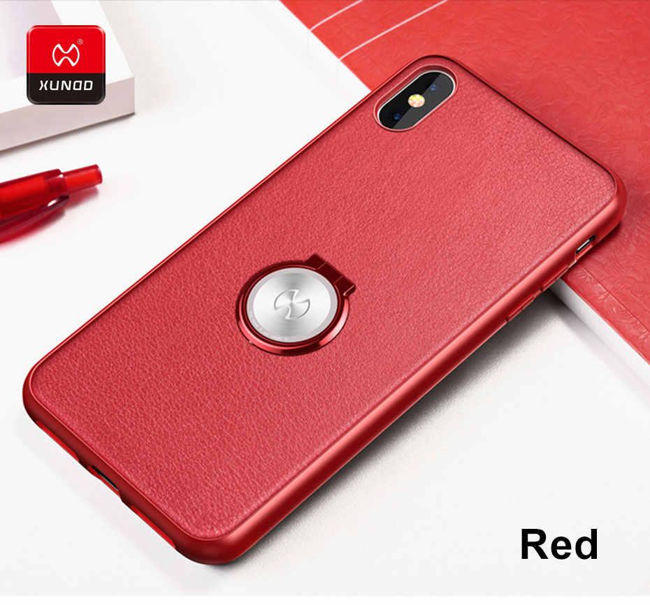 Marca de luxo caso couro para o iphone xr x xs max 7 8 6 s mais telefone à prova choque capa protetora volta casos magnético titular do carro